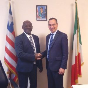The Rome Business School's Founding President (Right) and the Chief of Mission of the Liberian Embassy (Left)